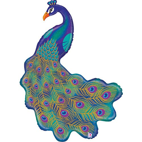 Glitter Peacock Holographic Helium Foil Giant Balloon 107cm / 42 in Product Image