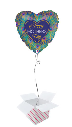 Glitter Peacock Mother's Day Heart Shape Holographic Foil Helium Balloon - Inflated Balloon in a Box Product Image