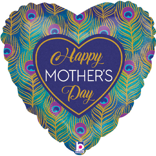 Glitter Peacock Happy Mother's Day Heart Shape Holographic Foil Helium Balloon 46cm / 18 in Product Image