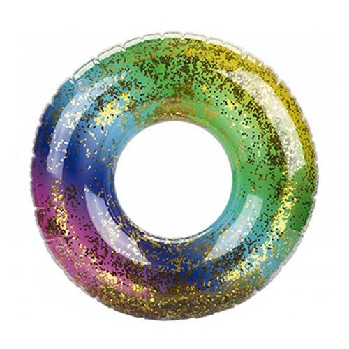 Glitter Filled Rainbow Inflatable Swim Ring 60cm