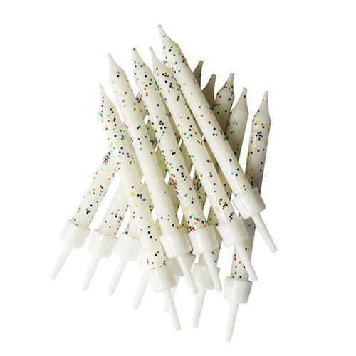 Glitter White Candles With Holders - Pack of 12 Product Image