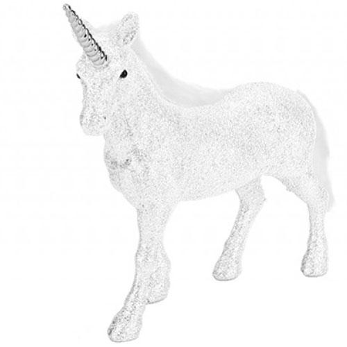 Glitter White Standing Unicorn Decoration 18cm