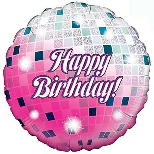 Glitterball Birthday Holographic Round Foil Helium Balloon 46cm / 18 in