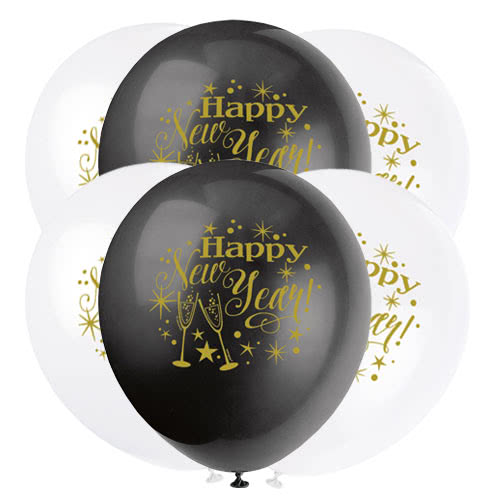 Glittering New Year Assorted Biodegradable Latex Balloons 30cm / 12Inch - Pack of 8 Product Image