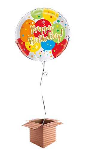 Glitzy Gold Birthday Round Foil Balloon - Inflated Balloon in a Box Product Image