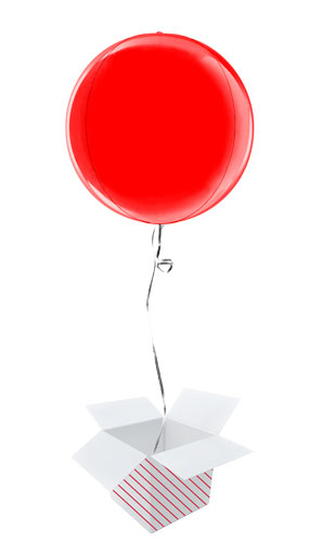 Red 4D Globe Foil Helium Balloon - Inflated Balloon in a Box