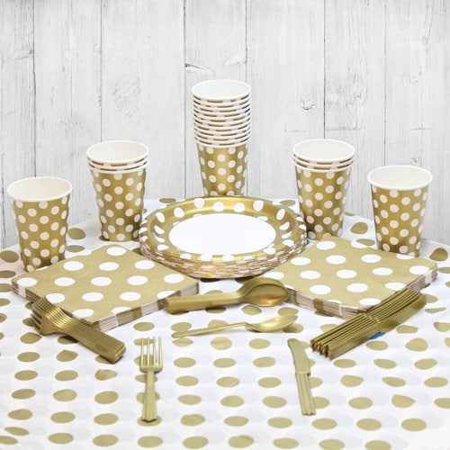 Gold Decorative Dot 18 Person Party Pack