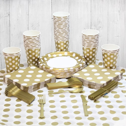 Gold Decorative Dot 54 Person Party Pack