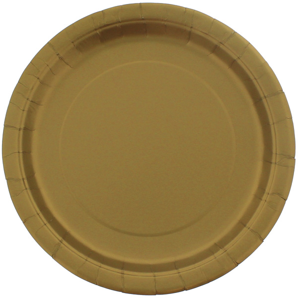 Gold Round Paper Plates 22cm - Pack of 16 Product Image