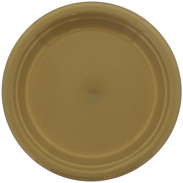 Gold Round Plastic Plates 23cm - Pack of 20