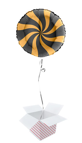Gold & Black Candy Swirl Round Foil Helium Balloon - Inflated Balloon in a Box