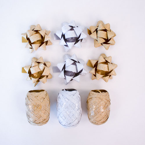 Gold & Silver Glitter Christmas Gift Bows & Cops Set Product Image