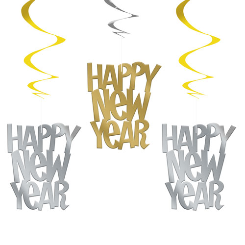 Gold And Silver Happy New Year Hanging Swirl Decorations - Pack of 3