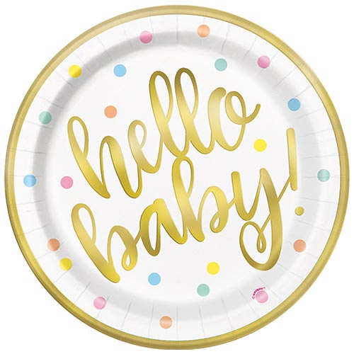 Gold Hello Baby Foil Round Paper Plates 22cm - Pack of 8