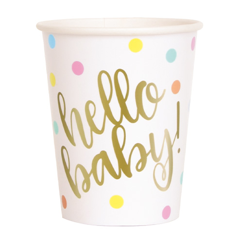 Gold Hello Baby Paper Cups 270ml - Pack of 8  Product Image