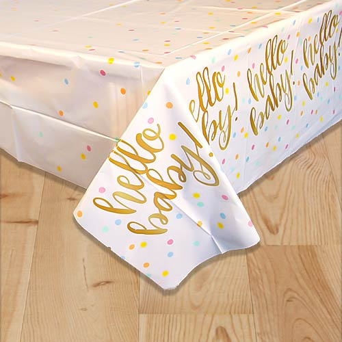 Gold Hello Baby Plastic Tablecover 213cm x 137cm