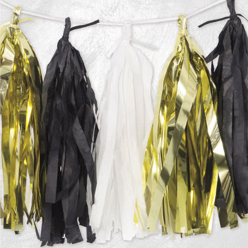 Gold Black And White Tissue Tassel Garland 274cm Product Image