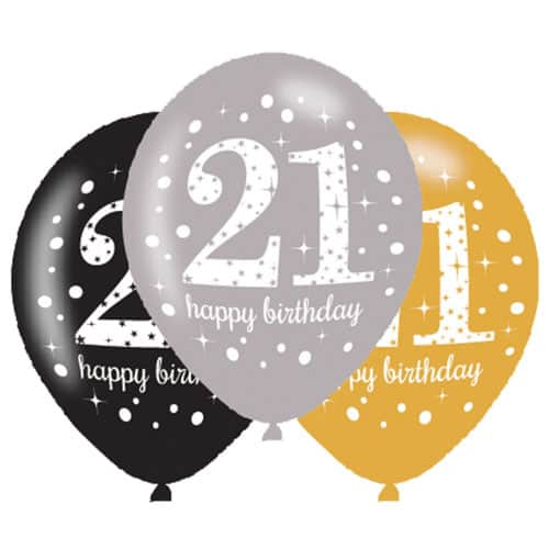 Gold Celebration Happy 21 Birthday Latex Balloons - 27cm - Pack of 6 Product Image