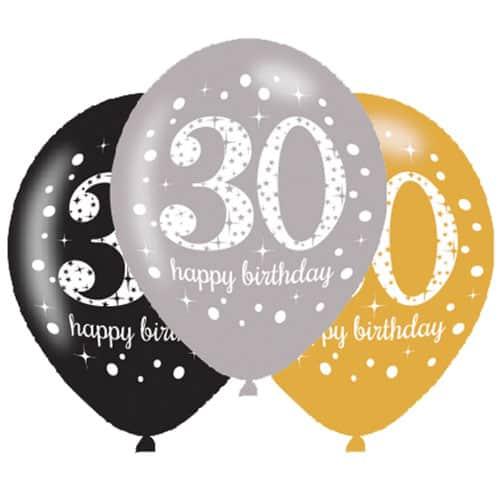 Gold Celebration Happy 30 Birthday Latex Balloons - 27cm - Pack of 6