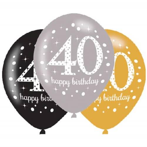Gold Celebration Happy 40 Birthday Latex Balloons - 27cm - Pack of 6