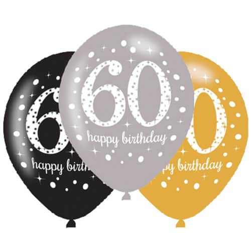 Gold Celebration Happy 60 Birthday Latex Balloons - 27cm - Pack of 6 Product Image