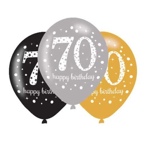 Gold Celebration Happy 70 Birthday Latex Balloons - 27cm - Pack of 6