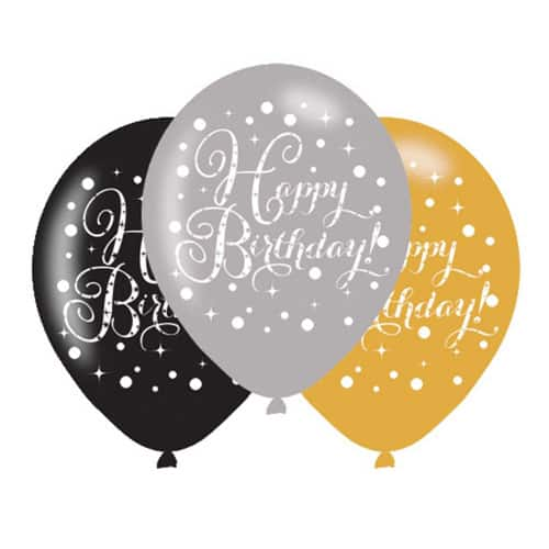 Gold Celebration Happy Birthday Latex Balloons - 27cm - Pack of 6 Bundle Product Image