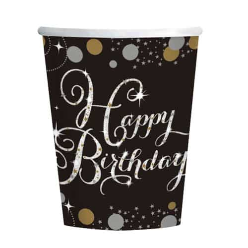 Gold Celebration Happy Birthday Paper Cups 266ml - Pack of 8