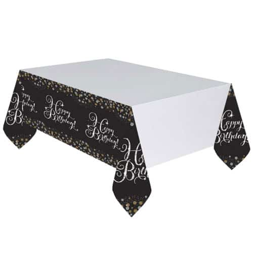 Gold Celebration Happy Birthday Plastic Tablecover 259cm x 137cm