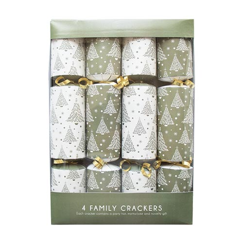 Gold Christmas Trees Crackers 30cm / 12 in - Pack of 4