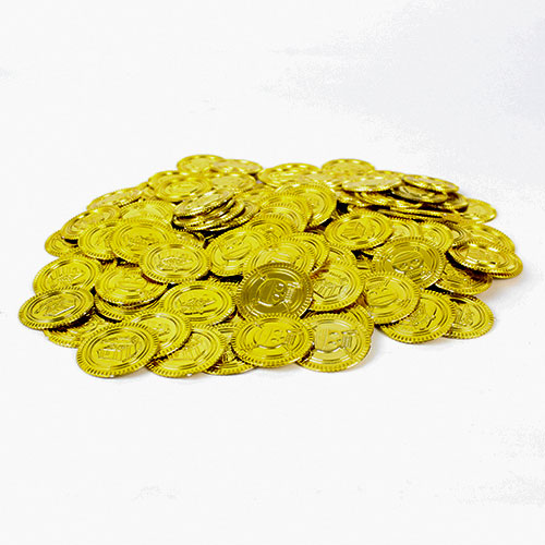 Gold Plastic Coins Toys Favours - Pack of 144 Product Image
