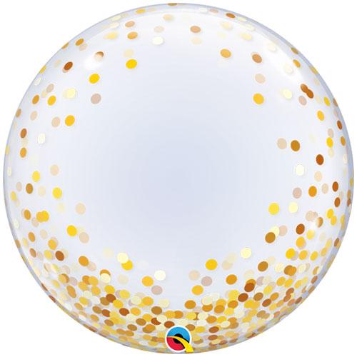 Gold Confetti Dots Deco Bubble Helium Qualatex Balloon 61cm / 24 in Product Image