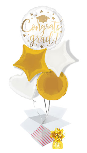 Gold Congrats Grad Balloon Bouquet - 5 Inflated Balloons In A Box Product Image