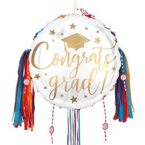 Gold Congrats Grad Pull String Pinata