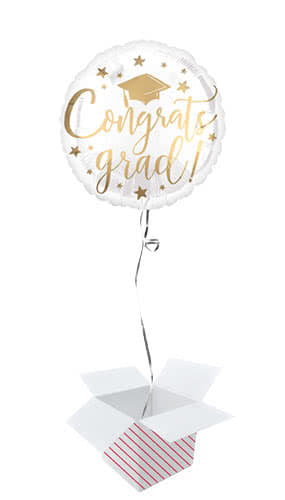 Gold Congrats Grad Round Foil Helium Balloon - Inflated Balloon in a Box