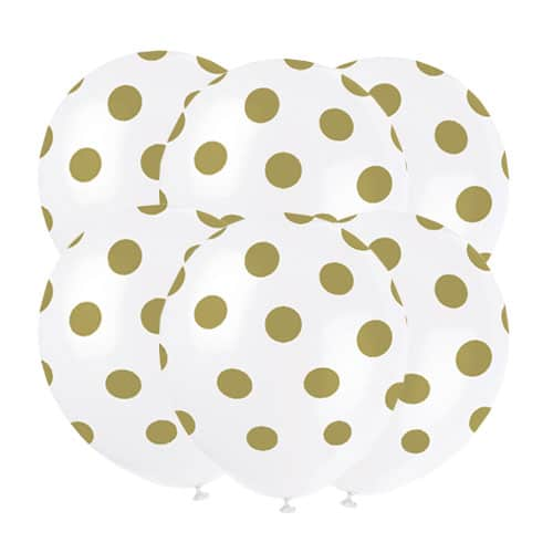 Gold Decorative Dots Biodegradable Latex Balloons - 30cm - Pack of 6