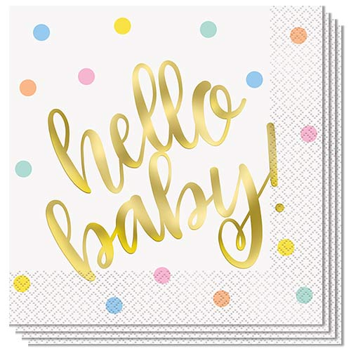 Gold Foil Hello Baby Luncheon Napkins 33cm 2Ply - Pack of 16