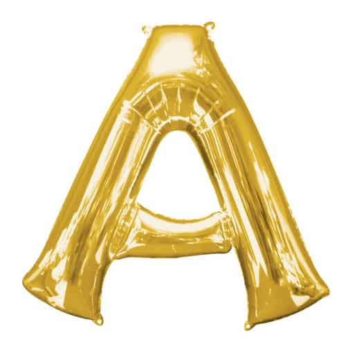 Gold Letter A Air Fill Foil Balloon 40cm / 16Inch Bundle Product Image