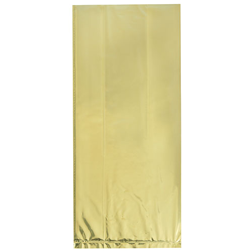 Gold Foil Cello Gift Bags with Twist Ties - Pack of 10