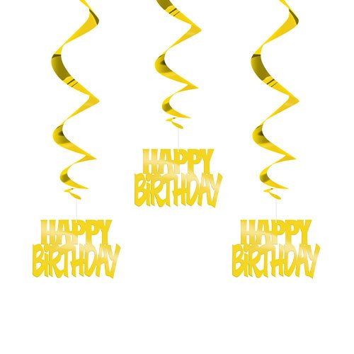 Gold Happy Birthday Script Hanging Swirl Decorations - Pack of 3