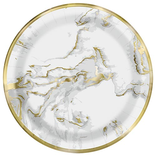 Gold Foil Marble Round Paper Plates 22cm - Pack of 10 Product Image