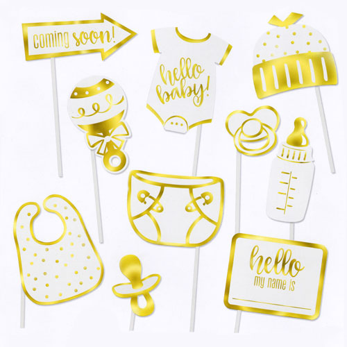 Gold Foil Stamped Baby Shower Party Photo Booth Props - Pack of 10 Product Image