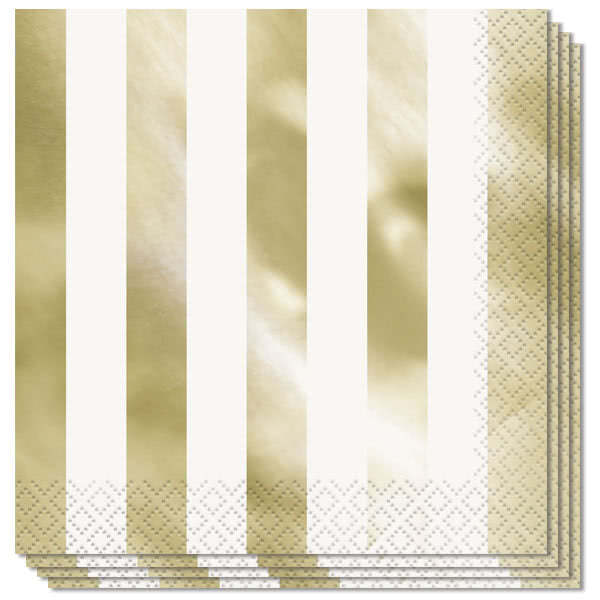 Gold Foil Stripes Luncheon Napkins 2Ply 33cm - Pack of 16