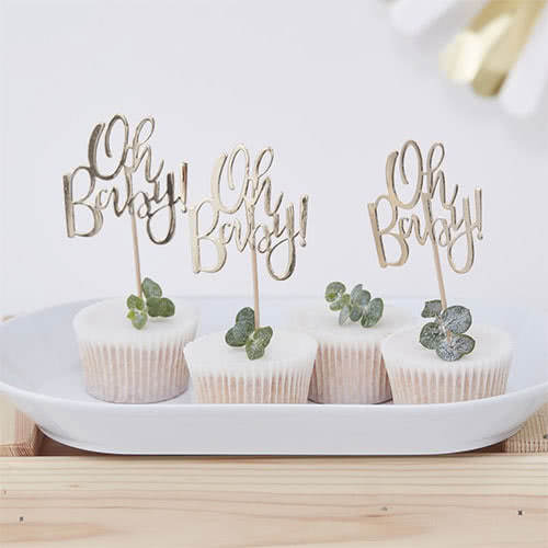 Oh Baby Gold Foiled Cupcake Toppers - Pack of 12