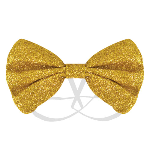 Gold Glitter Bow Tie Fancy Dress Product Image