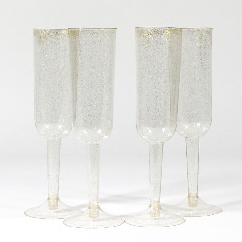 Gold Glitter Plastic Champagne Glasses - Pack of 4 Product Image