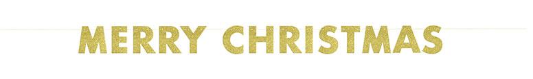 Merry Christmas Golden Glitter Cardboard Banner Decoration 274cm