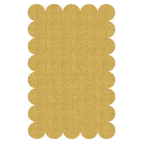Gold Glitter Scalloped Plastic Placemats - Pack of 8