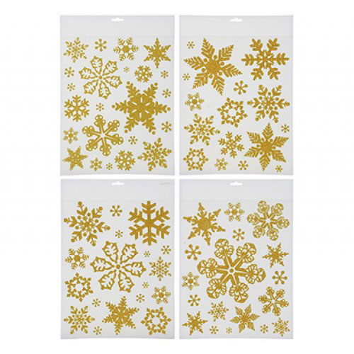 Gold Glitter Snowflakes Christmas Stickers Window Decorations