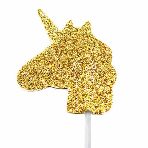 Gold Glitter Unicorn Cake Topper 3.5cm - Pack of 12 Product Image